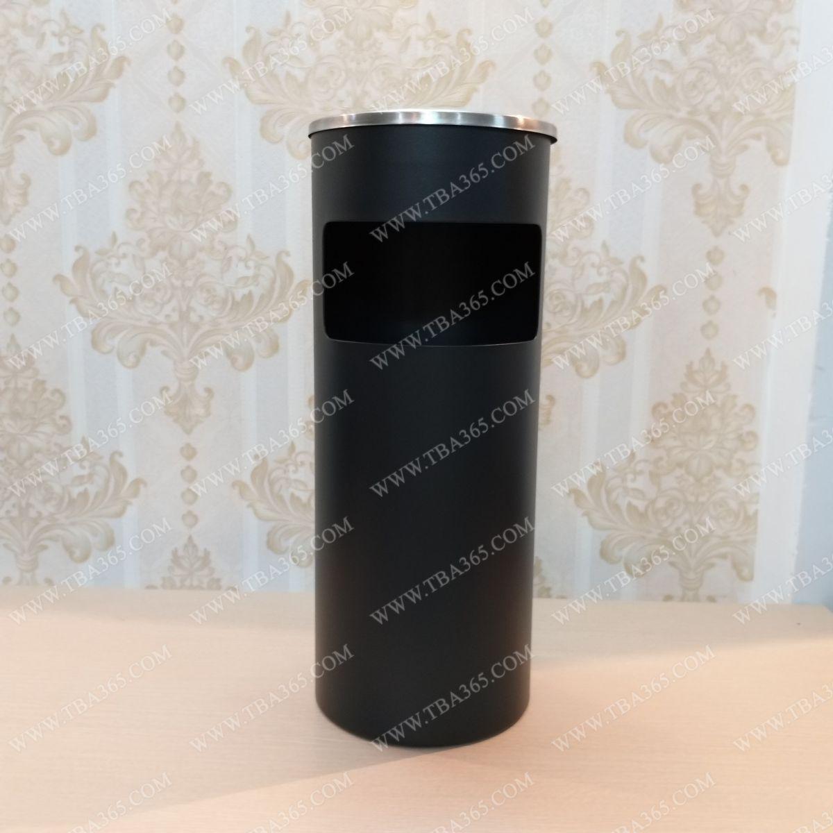 Thùng rác màu đen tròn gạt tàn cho khách sạn
